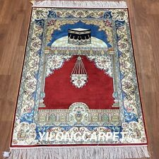 Yilong 2.8'x4' Traditional Handmade Prayer Silk Rugs Hand Knotted Carpets L64B