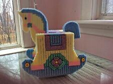 Rocking Horse tissue box cover, handmade, needlepoint