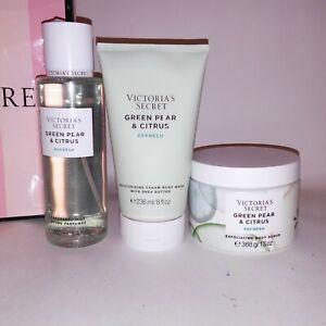 Set of 3 Victoria Secret Fragrance Mist Body Scrub Body Wash Green Pear & Citrus