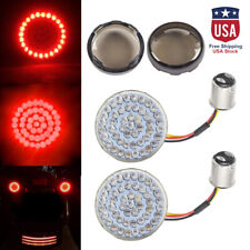 """2"""" Bullet 1157 LED Red Turn Signal Lights+Smoke Lens Cover for Harley Motorcycle"""