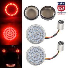 2 Bullet 1157 Led Red Turn Signal Lightssmoke Lens Cover For Harley Motorcycle