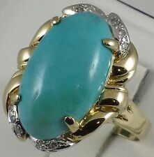 Estate 14k y.gold big natural 12x21mm turquoise,diamond ring,t.w 9.90g,size 9.5