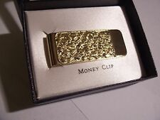 COLIBRI FOSTER 23KT GOLD PLATED NUGGET MONEY CLIP NEW IN GIFT BOX