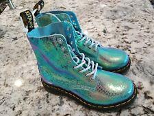 Women's Dr. Martens 1460 Pascal Iridescent Texture Blue Boot Size 6          B10