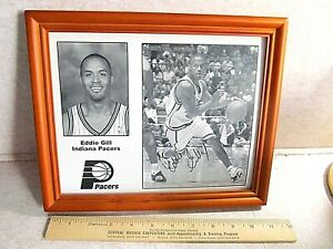 Eddie Gill Indiana Pacers Autograph picture framed NBA Basketball