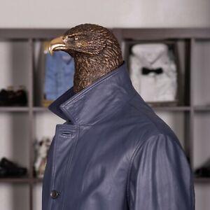 Great $4500 BRIONI Leather Cape Blue 44US/54IT
