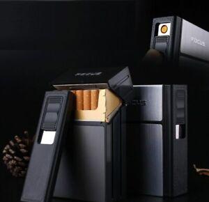 Cigarette Case Dispenser Tobacco Storage Box Holder with Windproof USB Lighter