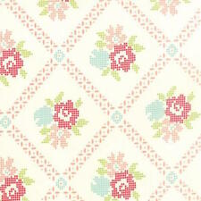 Bonnie & Camille Vintage Picnic Mayberry Mum Fabric in Cream Coral 55120-17