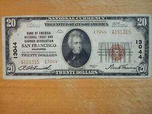 1929 BANK OF AMERICA SAN FRANCISCO $20 NATIONAL CURRENCY NOTE 13044 TYPE 2 FINE