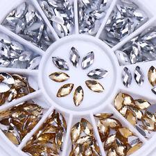 Chameleon AB Color Marquise 3D Nail Art Rhinestone Gold Silver Flat Bottom Decor