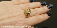 ⭐️ 18k Yellow Gold Neon Apatite Garnet Topaz Citrine Gemstone Dome Sputnik Ring