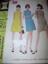 1967 McCALL'S #9071-LADIES PRETTY SLEEVELESS or SHORT SLEEVE DRESS PATTERN 18 FF