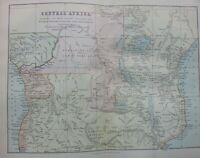 ANTIQUE PRINT C1870S MAP OF CENTRAL AFRICA EXPLORATIONS OF LIVINGSTONE STANLEY
