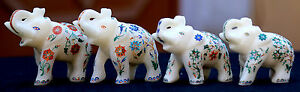 4 Pcs Antique Marble Elephant Trunk Up Semi Mosaic Inlay Pietradura Decor H1967
