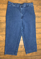Riders by Lee Womens 16 Medium Stretch Crop Jeans Blue Dark Wash Denim Pants