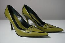 Via Spiga Olive Green Leather Pointy Toe Pump Heels Size 7 1/2