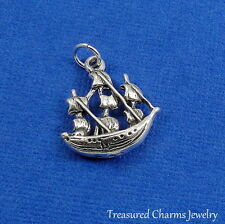 .925 Sterling Silver PIRATE SHIP CHARM Sailing Ship Galleon PENDANT
