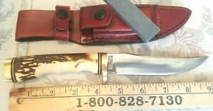 VINTAGE SCHRADE USA Uncle Henry Golden Spike Knife 153UH WITH SHEATH & STONE
