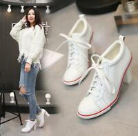 Womens Pumps Canvas Leather Slim High Heel Block Lace Up Sneakers Casual Shoes