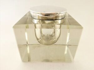 LARGE ANTIQUE HEAVY GLASS SILVER MOUNTED INKWELL HALLMARKED LONDON 1908 REF100/1