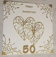 Handmade Golden Wedding Anniversary Card Happy 50th Anniversary large 8""