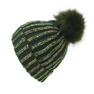 Ladies Faux Fur Fleece Detachable Pompom Diamante Hat