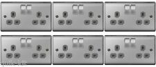 6 x BG NBS22G Brushed Steel / Satin Chrome Twin Switch Sockets - 13amp