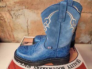 Justin Western Boot with Blue Floral Vamp/Blue Suede Top - Ladies 7B