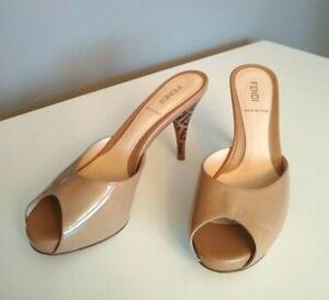 Fendi Mules Patent Caramel FF Superstar Leather Peep-Toe Slides Dust Bag UK 3
