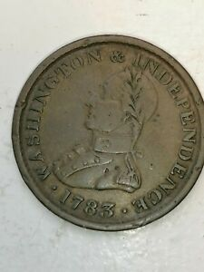 1783 Washington Cent  Plain Edge/ Large Bust Colonial Coin. Fine Coin !!!