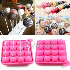 Silicone Chocolate Baking Tray Cake Candy Lollipop Pop mold Sticks Tool Set