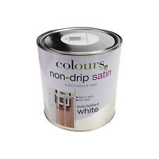 2,5L Tropffreie Farbe Weiß Satinweiß Glänzend Innen & Außen Holz & Metall 30qm