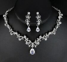 Stunning Wedding Austrian Crystal Water Droplet Bridal Necklace Hypoallergenic