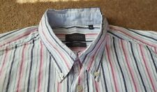 VAN HEUSEN White Oxford Shirt Pink Blue Black Stripes Size XL 100% Cotton