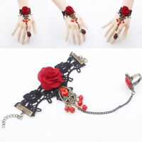 Low Price Lolita Red Rose Gothic Jewelry Black Cameo Lace Flower Bracelet Chain