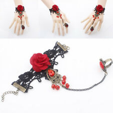 Lolita Red Rose Gothic Jewelry Black Cameo Lace Flower Bracelet Chain Ring Gift