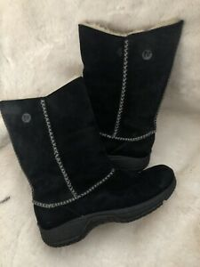 Merrell Encore Stitch High Black Suede Shearling Lined Women's Boots Size 8