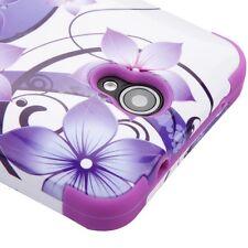 ZTE Zfive 2 (Z837VL) - PURPLE FLOWERS Hybrid Shockproof Armor Phone Case Cover