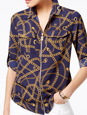 NWT MICHAEL Michael Kors Zip-Front Printed Blouse Navy Size S~MSRP$74