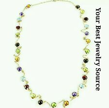 """14K Yellow Gold Station Necklace With Fancy Cut 6 MM Gemstones By The Yard 36"""""""