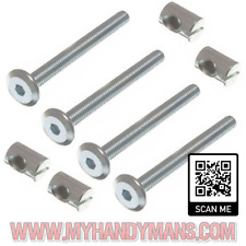 4x m6 x 60mm or 90mm long bed bolts with barrel nuts, cot, furniture Bolts BZP
