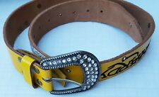 Ed Hardy Bling Leather Belt Yellow Skull Tiger Rhinestones Buckle Death Or Glory