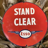 VINTAGE ESSO GASOLINE PORCELAIN METAL SIGN USA STAND CLEAR OIL GAS PUMP PLATE 12