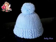 Hand Knitted Newborn Baby PomPom Hat - In Soft Blue Baby Wool
