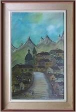 ARTE NAIF antico borgo di montagna olio tela fine'70 firma Tiziano Gini cornice