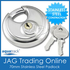 STAINLESS STEEL ROUND DISC SECURITY PADLOCK- Trailer/Hitch/Caravan/4x4/Boat Lock