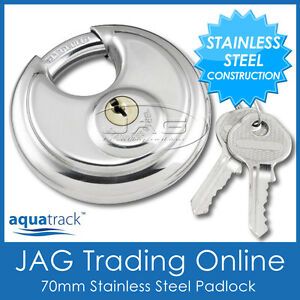 STAINLESS STEEL ROUND DISC SECURITY PADLOCK- Trailer/Hitch/Caravan/4x4/Boat Lock