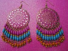Beaded Fringe Dangle Earrings Pink Dream Catcher With