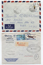 Pair of 1960s and 1980s Congo covers to East Germany and Canada [L.102]