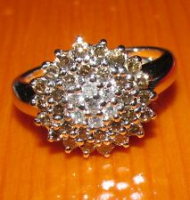 BEAUTIFUL SECONDHAND 14ct WHITE GOLD COGNAC & WHITE  DIAMOND CLUSTER RING SIZE N